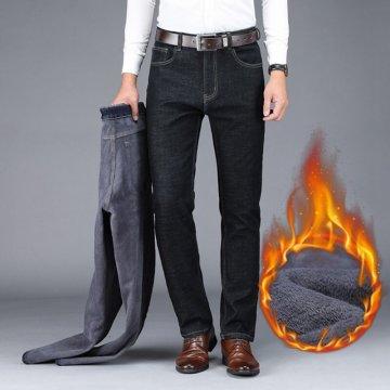 冬季牛仔裤男士商务直筒宽松弹力高腰牛仔裤