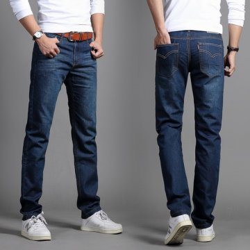 商务男士牛仔裤 简单休闲裤 宽松直筒长裤