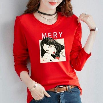大版型韩版T恤 修身印花圆领上衣 女装新款长袖