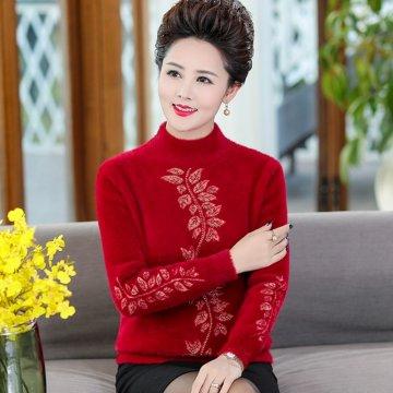 中年妈妈装冬款毛衣 保暖水貂绒毛衣 洋气打底衫