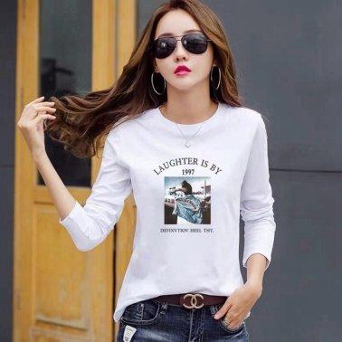秋季长袖T恤衫 圆领印花女装上衣 内搭外穿 韩版打底衫